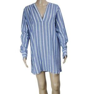 New Ba&sh Striped Printed Long Sleeve Dress Blue
